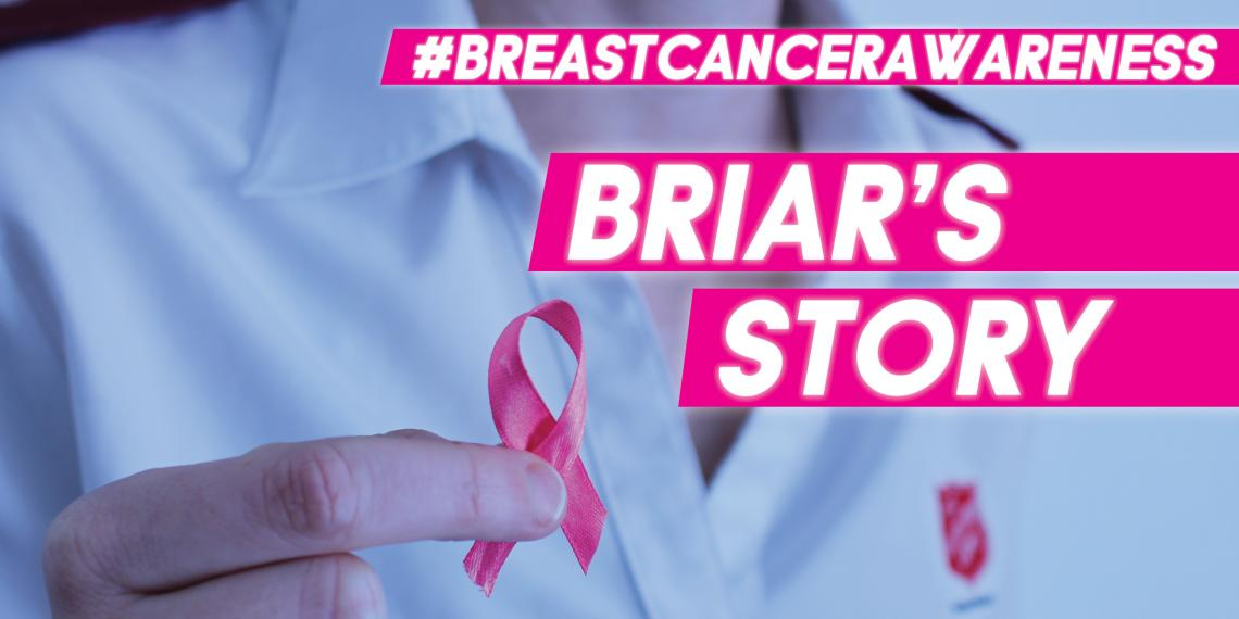 Breast Cancer Awareness header with woman holding pink ribbon