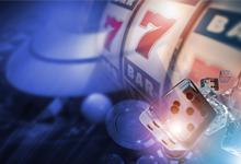 slot machines and dice symbolising gambling